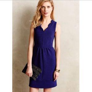 MAEVE Ottoman Blue Stretch Ribbed Sheath Dress